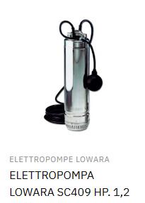 ELETTROPOMPA LOWARA SC409 HP. 1,2 220-240