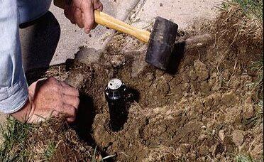 FASE 13: reinterro del foro 4 in alla volta e comprimerlo il terreno con un martello di gomma.. Quindi completare il terreno con zolle.